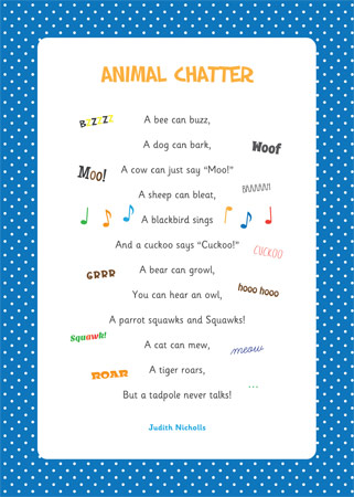 Animal Chatter Poem on Emotions Dice Editable Text