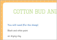 Cotton bud animals craft activity