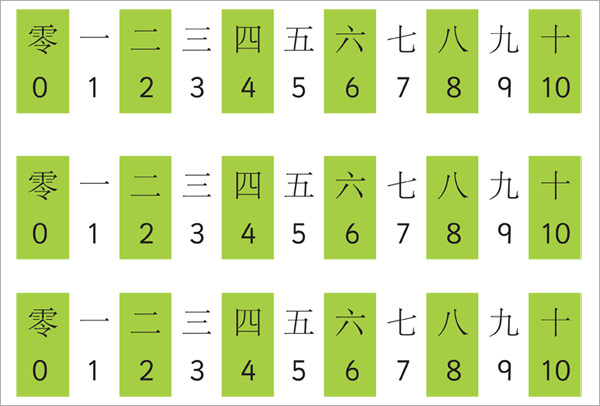 Small Mandarin Chinese Number Track on New Years Worksheet