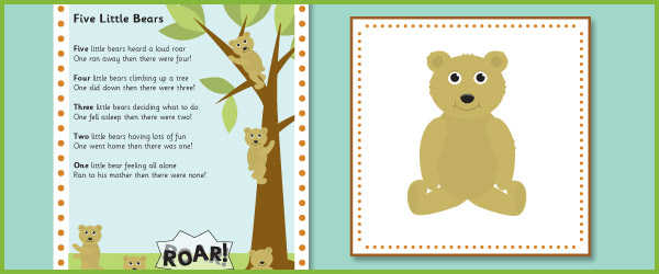 5 little bears number rhyme