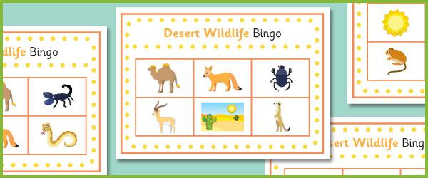 Desert Wildlife Bingo