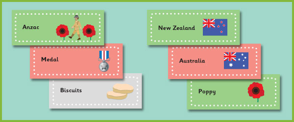 Anzac Day Topic Word Cards