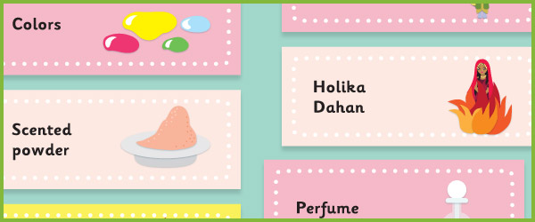 Holi Topic Word Cards / Labels
