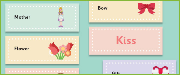 Mother's Day Topic Word Cards