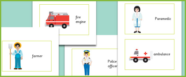 Workers and their Vehicles Flash Cards