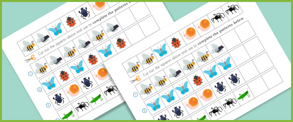 early learning resources complete the pattern worksheets minibeasts. Black Bedroom Furniture Sets. Home Design Ideas