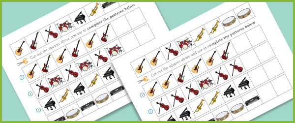 complete the pattern worksheets  u2013 musical instruments