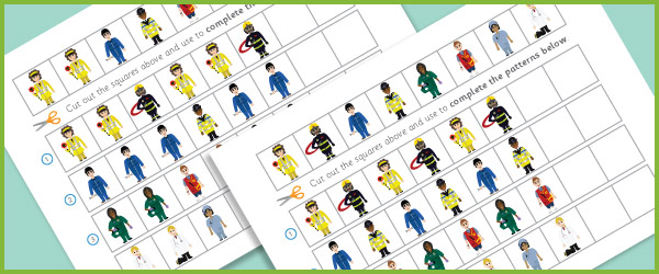 Complete The Pattern Worksheets – People Who Help Us | Free Early ...