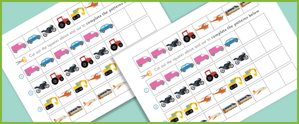 complete the pattern worksheets vehicles free early years primary teaching resources eyfs. Black Bedroom Furniture Sets. Home Design Ideas