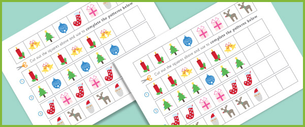 complete the pattern worksheets christmas free early years primary teaching resources. Black Bedroom Furniture Sets. Home Design Ideas