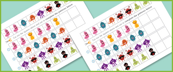 Monster pattern worksheet