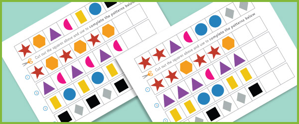 complete the pattern worksheets 2d shapes free early years primary teaching resources. Black Bedroom Furniture Sets. Home Design Ideas