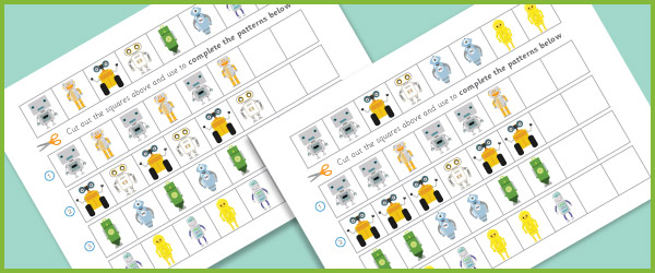 Complete The Pattern Worksheets – Robots | Free Early Years ...