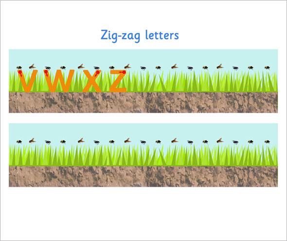 zig zag letter formation sheet