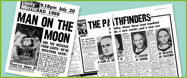 Moon Landing Historic Newspaper Reports  Apollo  Newspaper