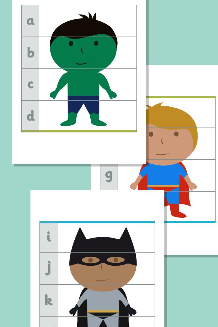 Superhero Alphabet Puzzles