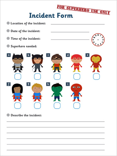 Superhero Incident Form : Superhero Role-Play : Free Early ... : story setting worksheets : All Worksheets