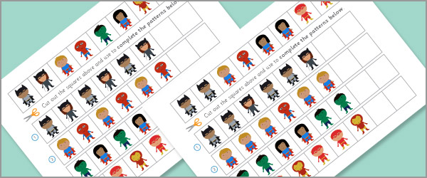 Superhero Worksheets Complete The Pattern Free Early