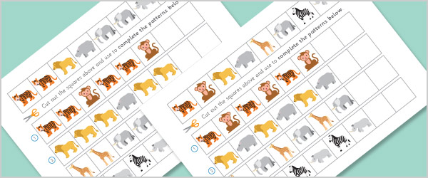 zoo animals worksheets complete the pattern free early years primary teaching resources. Black Bedroom Furniture Sets. Home Design Ideas