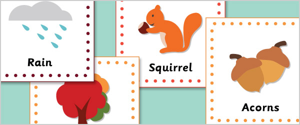 early learning resources autumn 15cm topic    flash cards