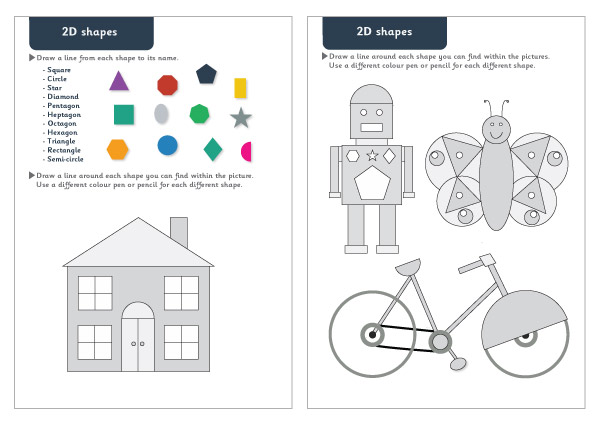 2d Shapes Maths Worksheets Free Early Years Primary Teaching