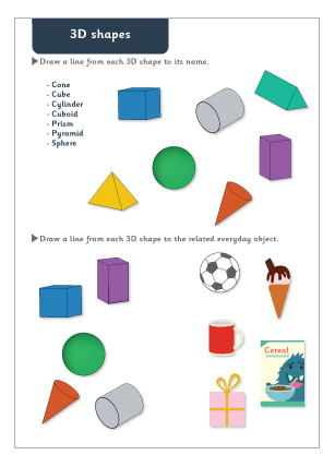 3d Shapes Maths Worksheet Free Early Years Primary Teaching