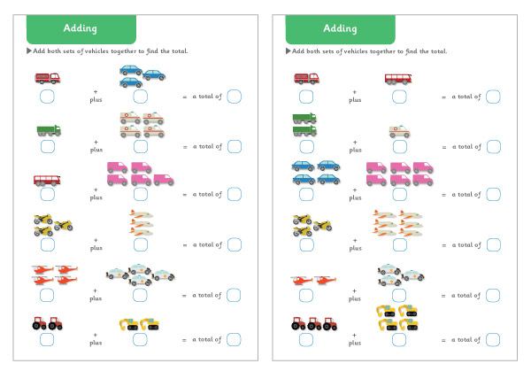 Vehicle Themed Adding Maths Worksheets Free Early Years