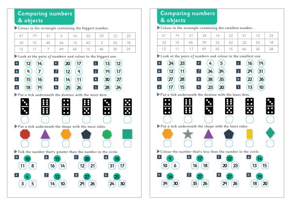 Comparing Numbers & Objects Maths Worksheets | Free Early Years ...