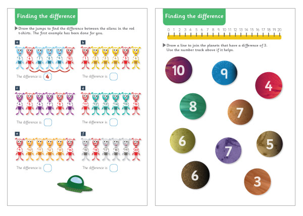 Space Themed Finding the Difference Maths Worksheets – Early Years Maths Worksheets