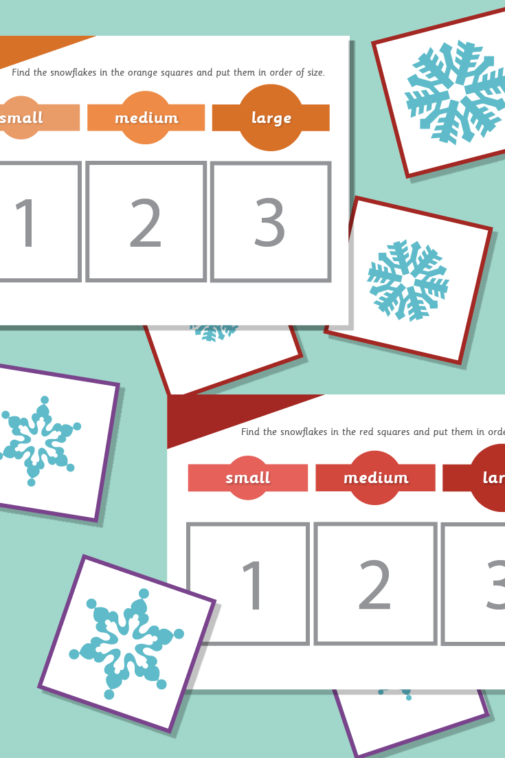 Snowflakes Size Sorting Activity