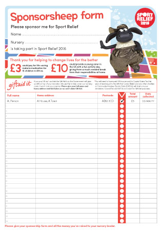 Sport Relief 2016: Sponsorship Form, Pay In Slip U0026 Letter To