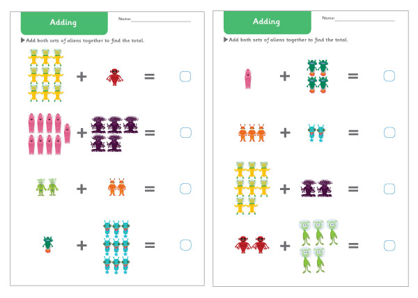 Alien Addition Worksheets