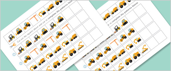 Complete the Pattern 'Construction' Worksheets