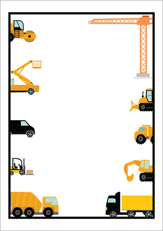 Editable Construction Vehicles Notepaper