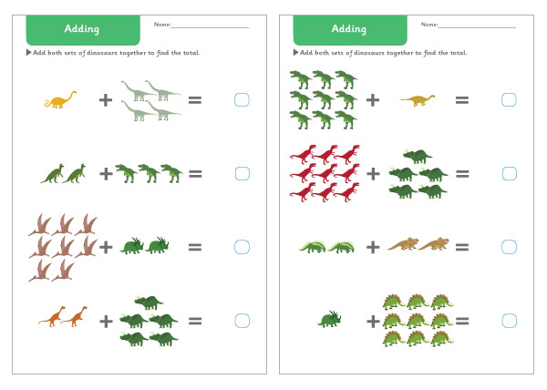 Dinosaur Addition Worksheets
