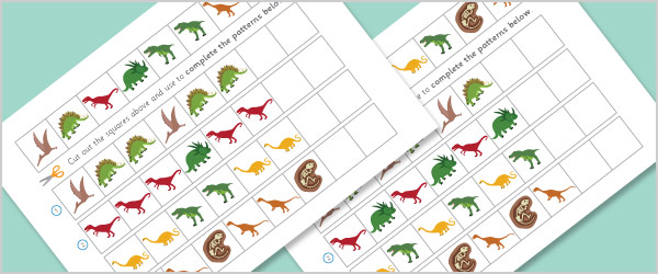 Dinosaur Sequence and Patterns Worksheets