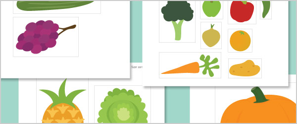 Fruit and Vegetable Cut-Outs for Size Sorting