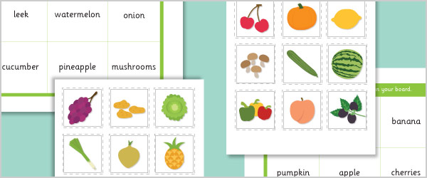 Fruit and Vegetable Bingo