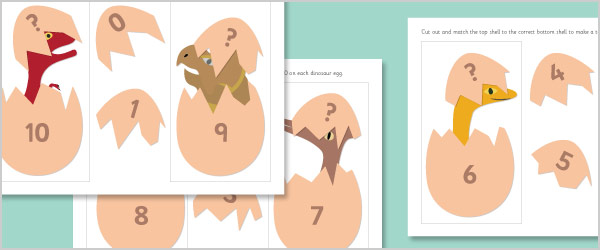 Hatching Dinosaurs: Number Bonds to 10 Activity