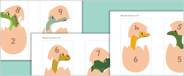 Hatching Dinosaurs: Number Bonds to 10 Picture Cards