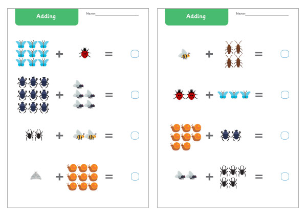 Minibeast Addition Worksheet