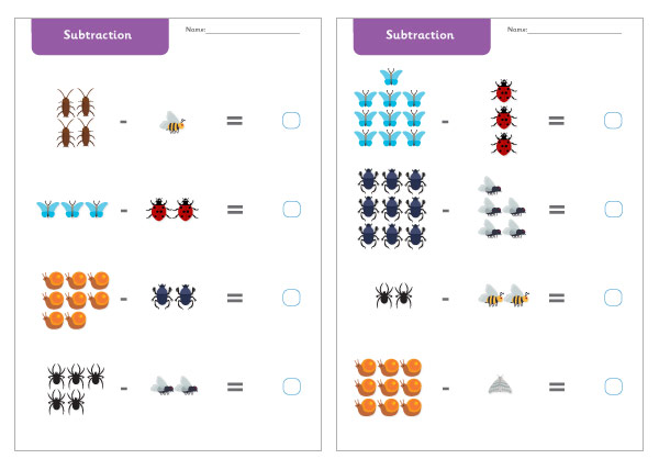 Minibeast Subtraction Worksheets