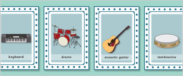 Musical Instruments Snap Cards with Words