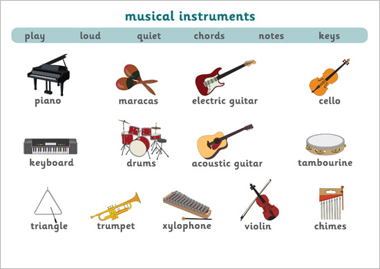 Musical Instruments Word Mat