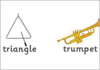 Musical Instruments Word Mat