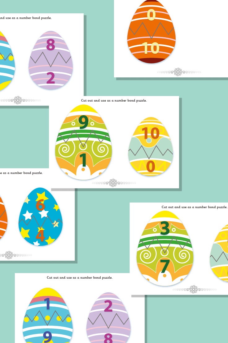 Easter Egg Number Bond Puzzles to 10