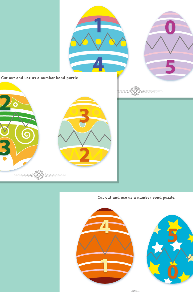 Easter Egg Number Bond Puzzles to 5
