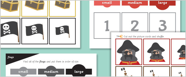 Pirate Size Sorting Game / Activity