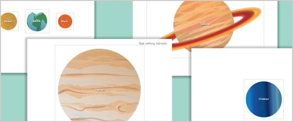 Planets Cut-Outs for Size Ordering
