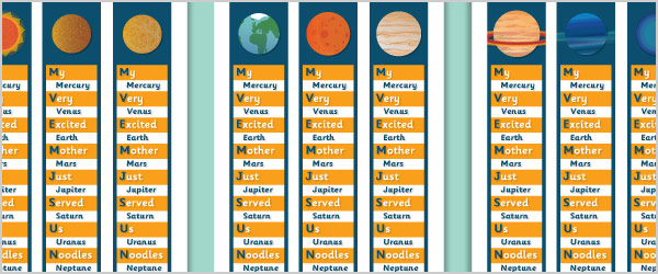 Planets Mnemonic Bookmarks